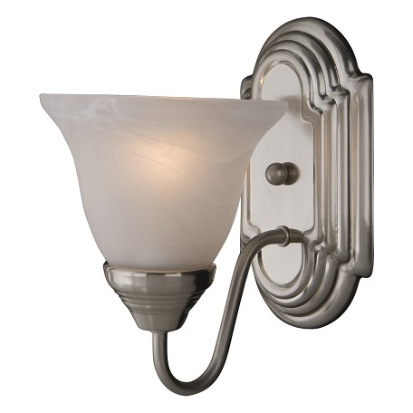 "Essentials Collection 1-Light 6"" Satin Nickel Wall Sconce with Marble Glass 8011MRSN"