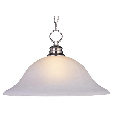 "Essentials Collection 1-Light 11"" Satin Nickel Pendant with Marble Glass 91076MRSN"