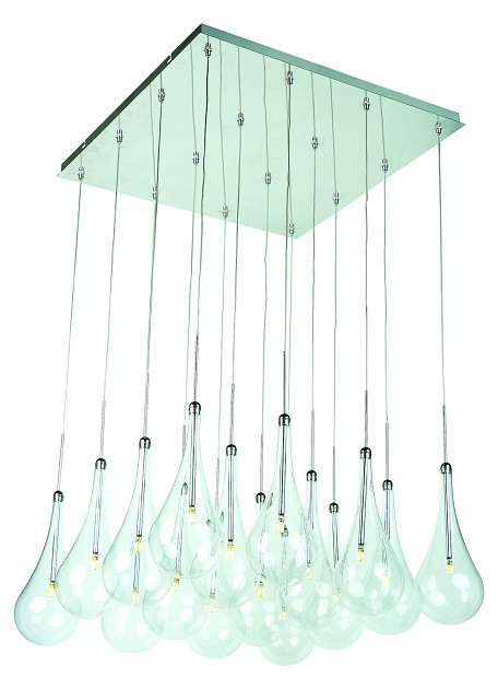 Polished Chrome / Clear Glass 16 Light LED 19in. Wide Pendant from the Larmes LED Collection