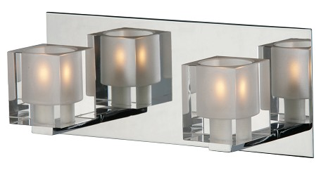 Chrome Blocs 11.5in. Wide 2-Bulb Bathroom Light Fixture