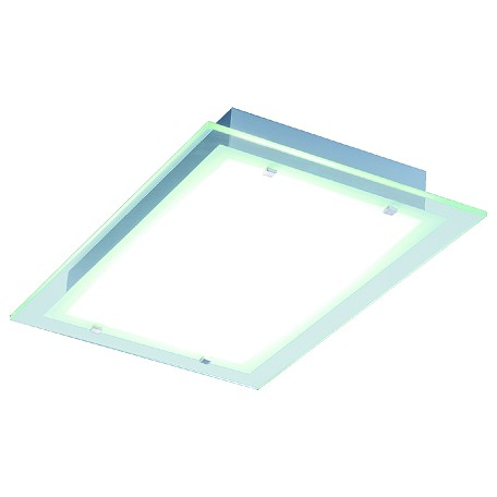 Brushed Aluminum Contempra 2-Bulb Flush Mount Indoor Ceiling Fixture - Glass Shade Included