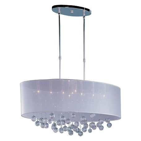 Polished Chrome / Silver Sheer Fabric 9 Light 32in. Wide Pendant from the Veil Collection