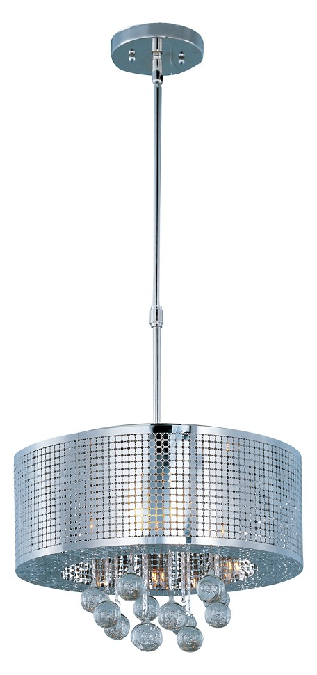Polished Chrome / Bubble Glass 5 Light 16in. Wide Pendant from the Illusion Collection