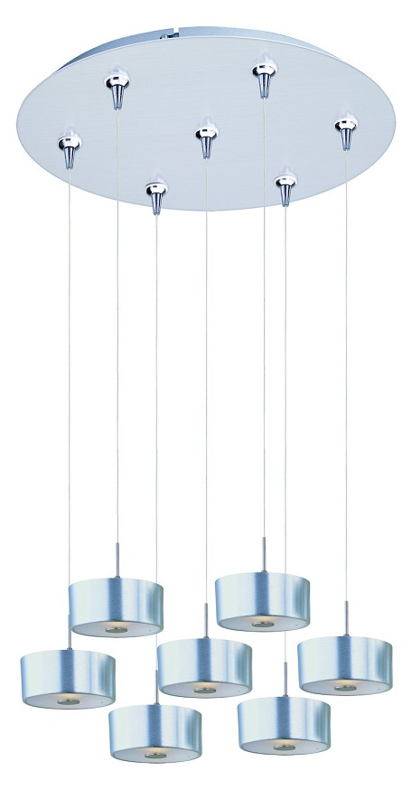 Satin Nickel 7 Light 17in. Wide Pendant from the Percussion Collection