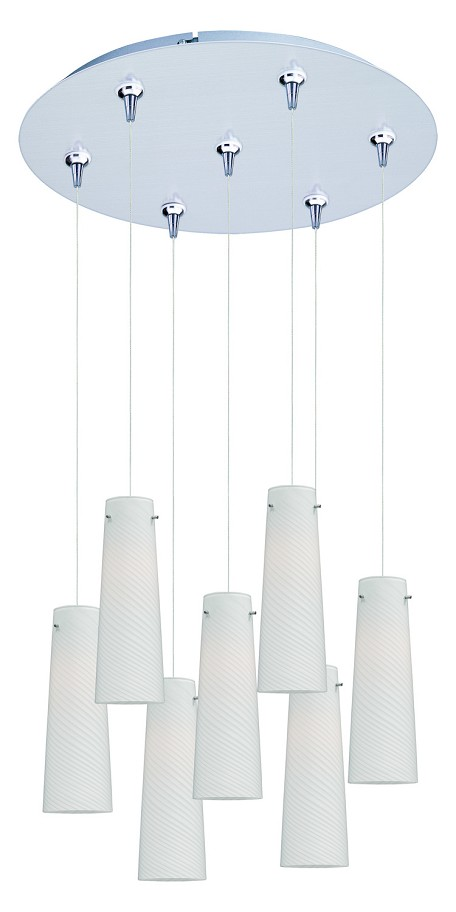 Satin Nickel 7 Light 17in. Wide Pendant from the Minx Collection