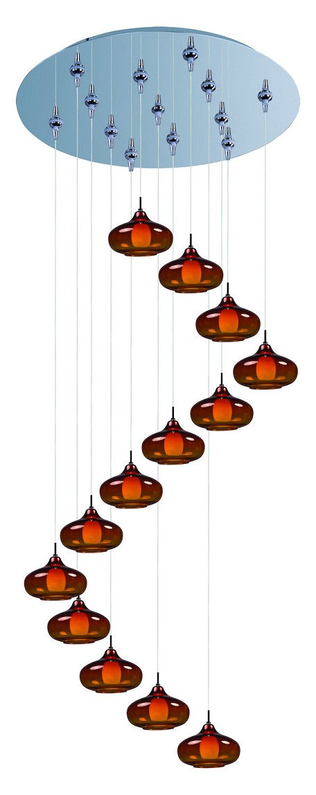 Polished Chrome with Amber Glass 13 Light 21in. Wide Pendant from the Minx Collection