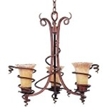 "Desert Wind 3-Light 24"" Desert Bronze Chandelier with Vintage Amber Glass 11904VADB"