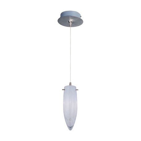 Satin Nickel / White Cirrus Glass 1 Light 9.5in. Tall RapidJack Pendant and Canopy from the White Cirrus Collection