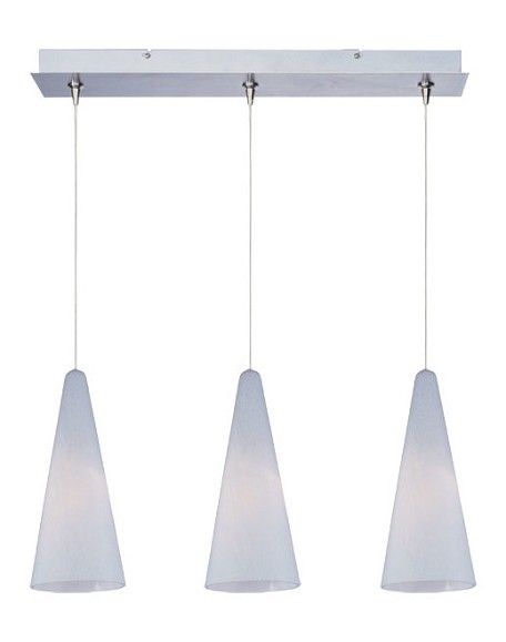 Satin Nickel / White Lava Glass 3 Light 24.25in. Wide RapidJack Pendant and Canopy from the Lava Collection