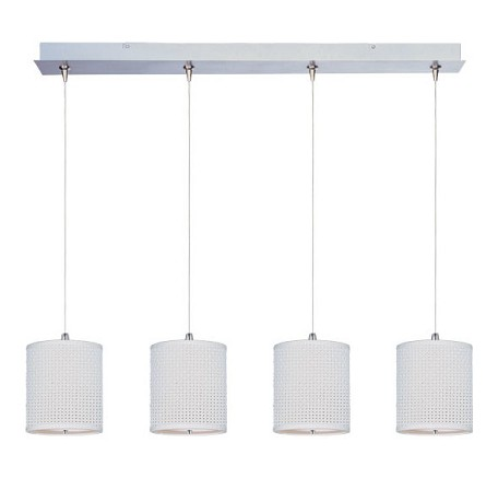 Satin Nickel With Grass Cloth Fabric Elements 4 Light 8.5 Inch Drum Shade Linear Foyer Pendant - Bulbs Included