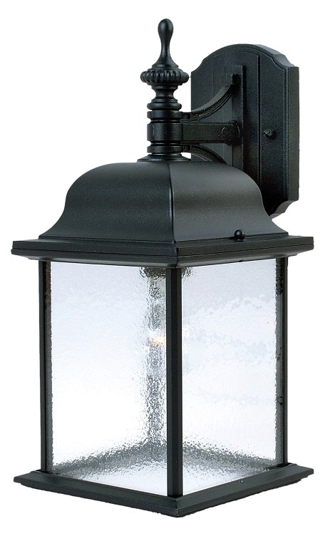 "Senator Collection 1-Light 15"" Black Outdoor Wall Light with Seedy Glass 1056BK"