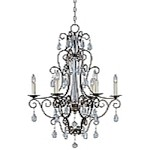 "Hampton Collection 6-Light 32"" Auburn Dusk Chandelier with Crystal Accents 12025AD"