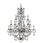 "Hampton Collection 15-Light 52"" Auburn Dusk Chandelier with Crystal Accents 12027AD"