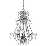 "Hampton Collection 6-Light 33"" Auburn Dusk Foyer Pendant with Crystal Accents 12029AD"