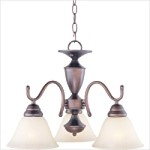 "Newport Collection 3-Light 20"" Oil Rubbed Bronze Chandelier with Marble Glass Shade 12061MROI"