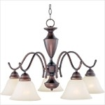 "Newport Collection 5-Light 25"" Oil Rubbed Bronze Chandelier with Marble Glass Shade 12062MROI"