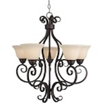 "Manor Collection 5-Light 28"" Oil Rubbed Bronze Chandelier with Frosted Ivory Glass 12205FIOI"