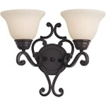 "Manor Collection 2-Light 15"" Oil Rubbed Bronze Wall Sconce with Frosted Ivory Glass 12212FIOI"