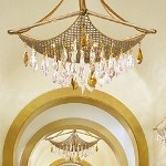 "Barcelona Collection 8-Light 33"" Silver and Gold Leaf Pendant with Italian Crystal Drops 125-48"