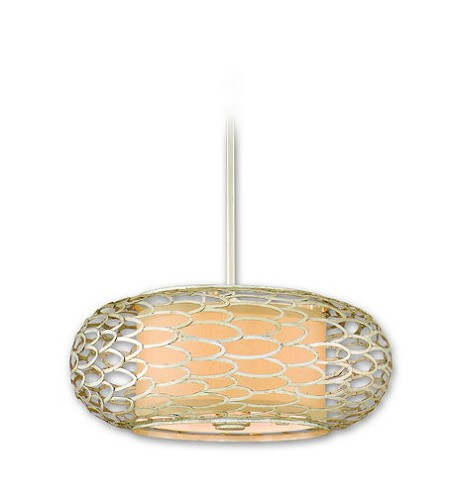 "Cesto Collection 3-Light 18"" Modern Silver Pendant or Semi-Flush Mount with a Champagne Shade 127-43"