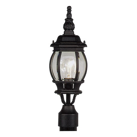 Black 1 Light 100W Outdoor Post Light with Medium Bulb Base and Clear Beveled Glass from Frontenac Series