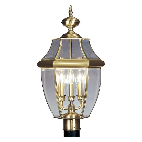 Antique Brass 3 Light 180W Post Light with Candelabra Bulb Base and Clear Beveled Glass from Monterey Series