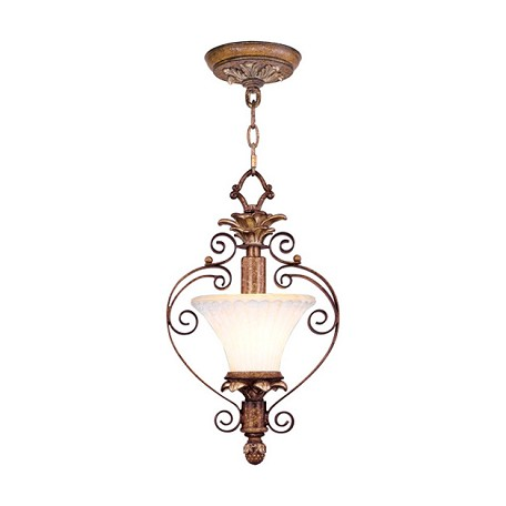 Venetian Patina 1 Light 100W Semi-Flush Ceiling Light with Medium Bulb Base and Vintage Carved Scavo Glass from Savannah Series