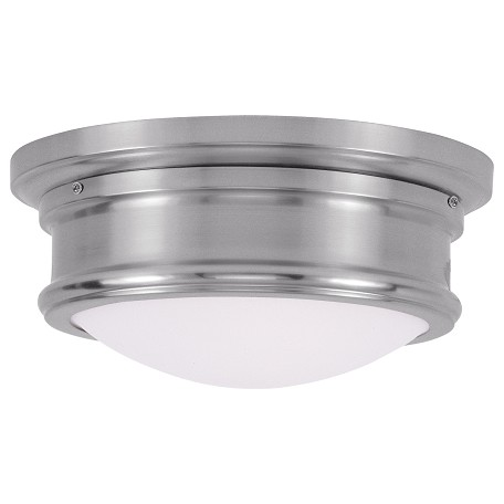 "Livex Collection 2-Light 11"" Brushed Nickel Ceiling Mount with Hand Blown Satin White Glass 7341-91"