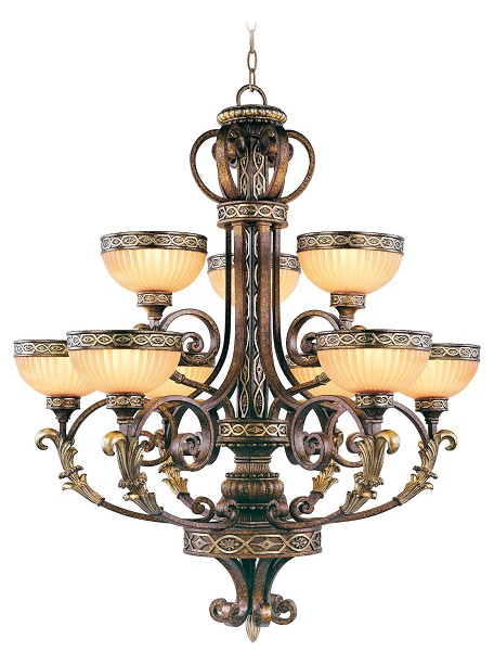 Palacial Bronze With Gilded Accents 9 Light 540W Chandelier With Medium Bulb Base And Hand Crafted Gold Dusted Art Glass From Seville Series