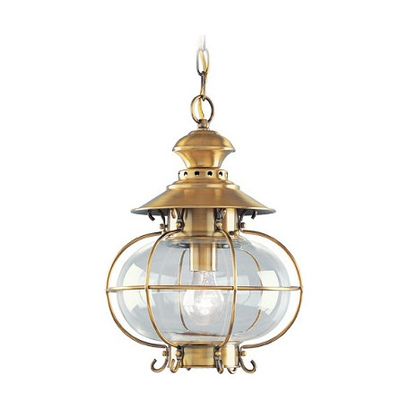 "Harbor Collection 1-Light 15"" Solid Brass Outdoor Hanging Lantern with Clear Hand Blown Glass 2225-22"