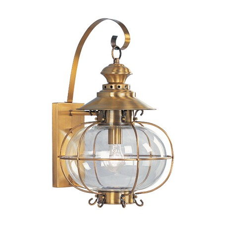 Harbor Collection 1-Light Hand Blown Clear Glass Solid Brass Flemish Brass Finished Outdoor Wall Lantern 2223-22