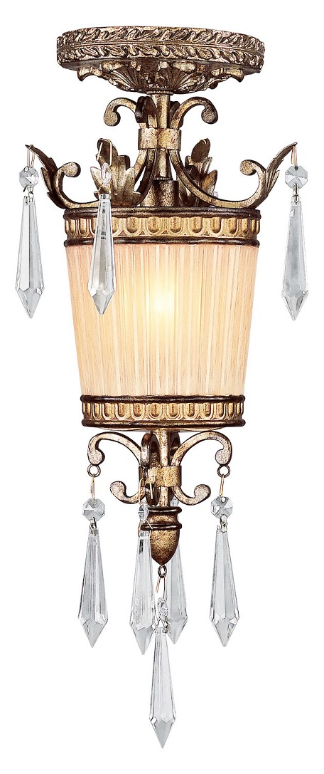 Vintage Gold Leaf 1 Light 60W Mini Pendant with Candelabra Bulb Base and Hand Crafted Gold Dusted Glass from La Bella Series