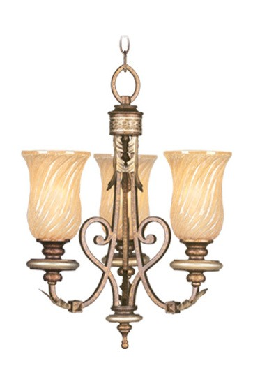 Palacial Bronze with Gilded Accents 3 Light 300W Mini Chandelier with Medium Bulb Base and Gold Dusted Sculpted Art Glass from Bristol Manor Series