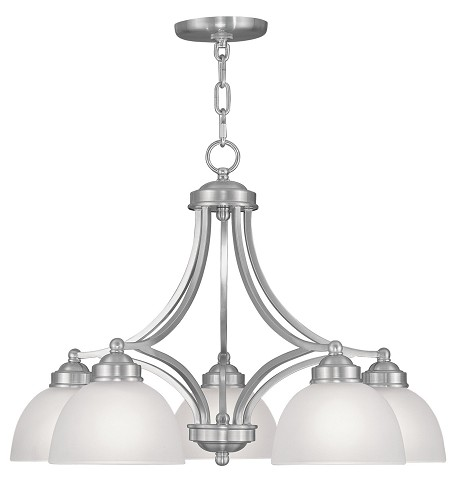Brushed Nickel 5 Light 500 Watt Island / Billiard Fixture With Satin Glass From The Somerset Collection