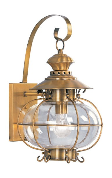 Harbor Collection 1-Light Hand Blown Clear Glass Solid Brass Flemish Brass Finished Outdoor Wall Lantern 2222-22