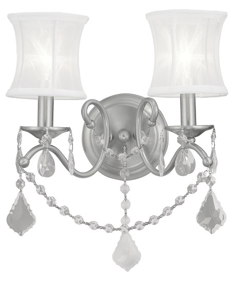 Brushed Nickel 2 Light 120 Watt 12in. Wide Wall Sconce with White Off White Silk Shimmer Shade from the Newcastle Collection