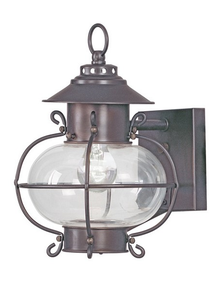 Bronze 1 Light 60W Outdoor Wall Sconce with Medium Bulb Base and Hand Blown Clear Glass from Harbor Series