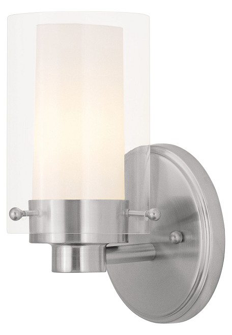 Brushed Nickel 1 Light 60 Watt 5in. Wide Bathroom Fixture with Clear Glass from the Manhattan Collection
