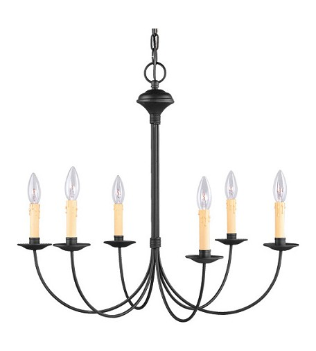 Black 6 Light 360W Chandelier With Candelabra Bulb Base From Heritage Series