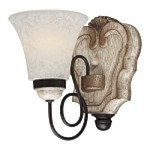 "Accents Provence Collection 1-Light 8"" Provence Patina Wall Sconce with White Patina Glass Shade 1291-580"