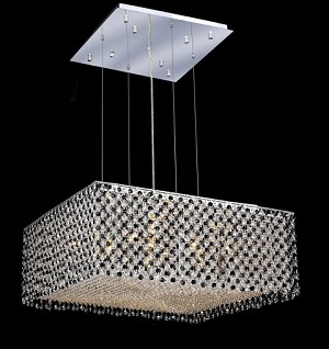 "Moda Collection 13-Light 26"" Chrome Pendant with Jet Black Royal Cut Crystal 1294D26C-JT/RC"