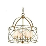 "Argyle Collection 6-Light 28"" Aged Brass Chandelier with Box Pleat Shades 13-04"