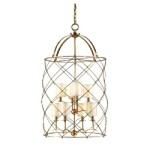 "Argyle Collection 8-Light 40"" Aged Brass Foyer Fixture with Box Pleat Shades 13-48"