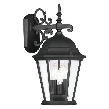 Black 3 Light 120W Down Lighting Wall Sconce with Candelabra Bulb Base and Clear Beveled Glass from Hamilton Series