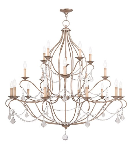 Twenty Light Antique Silver Leaf Up Chandelier