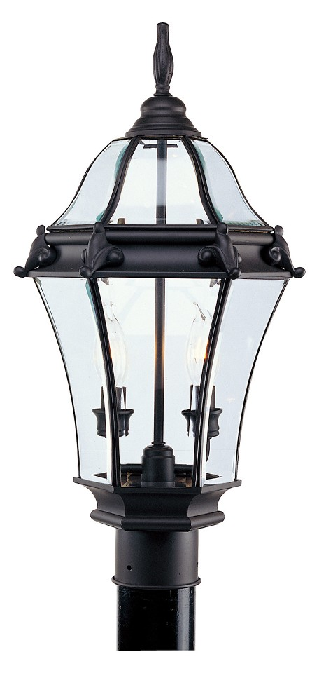 Bronze 2 Light 120W Post Light with Candelabra Bulb Base and Clear Beveled Glass from Fleur de Lis Series
