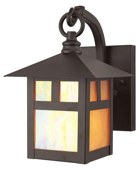 Bronze 1 Light 60W Outdoor Wall Sconce with Medium Bulb Base and Iridescent Tiffany Glass from Montclair Mission Series