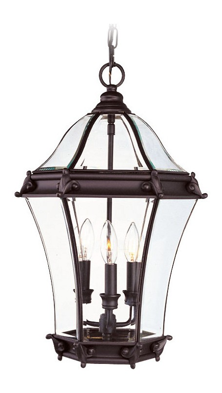Bronze 3 Light 180W Outdoor Pendant With Candelabra Bulb Base And Clear Beveled Glass From Fleur De Lis Series