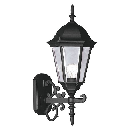 Black 1 Light 100W Up Lighting Wall Sconce with Medium Bulb Base and Clear Beveled Glass from Hamilton Series