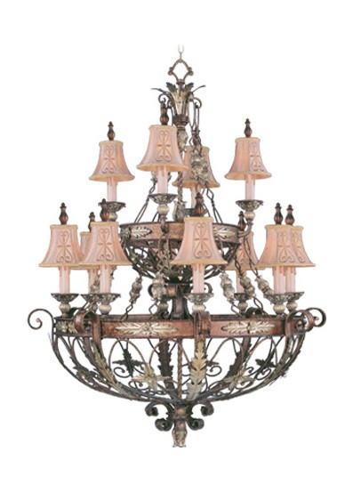 Palacial Bronze With Gilded Accents 12 Light 720W Chandelier With Candelabra Bulb Base And Hand Embroidered Shades/Decorative Finials Glass From Pamplona Series